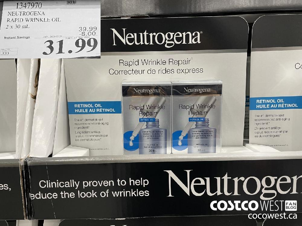 1347970 NEUTROGENA RAPID WRINKLE OIL 2 x 30 mL EXPIRY DATE: 2021-03-28 $31.99