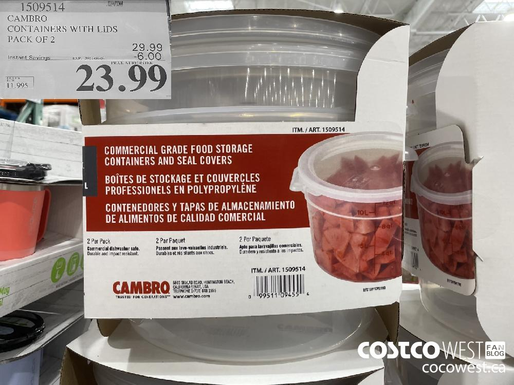 1509514 CAMBRO CONTAINERS WITH LIDS F PACK OF 2 EXPIRY DATE: 2021-04-04 $23.99