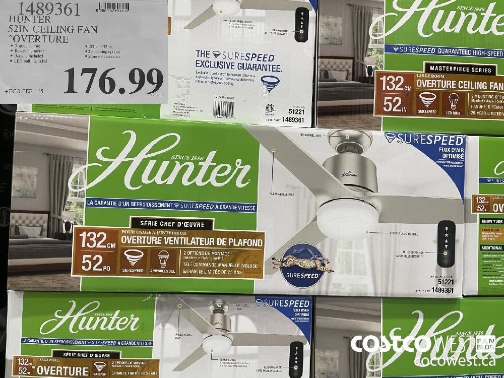 1489361 HUNTER 52 IN CEILING FAN OVERTURE $176.99