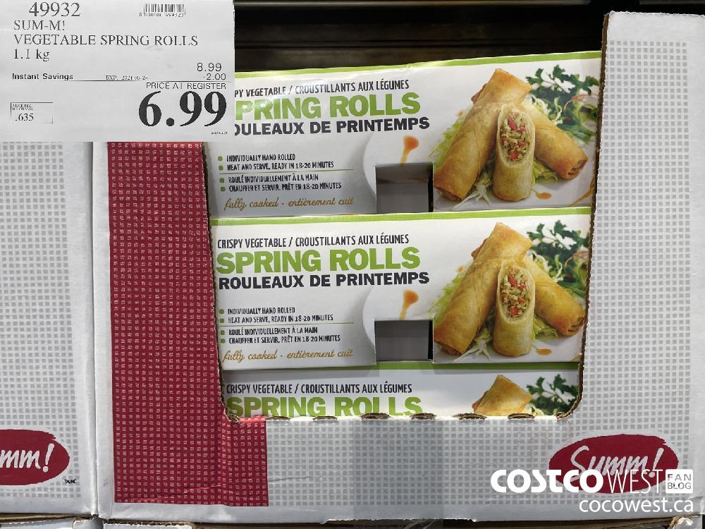 49932 SUM-M! VEGETABLE SPRING ROLLS 1.1 kg EXPIRY DATE: 2021-03-28 $6.99
