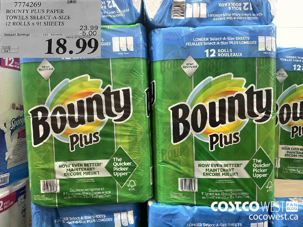 7774269 BOUNTY PLUS PAPER TOWELS SELECT-A-SIZE 12 ROLLS x 91 SHEETS EXPIRY DATE: 2021-04-04 $18.99