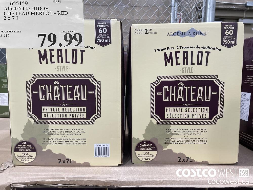 655159 ARGENTIA RIDGE CHATEAU MERLOT - RED 2 x 7 L $79.99
