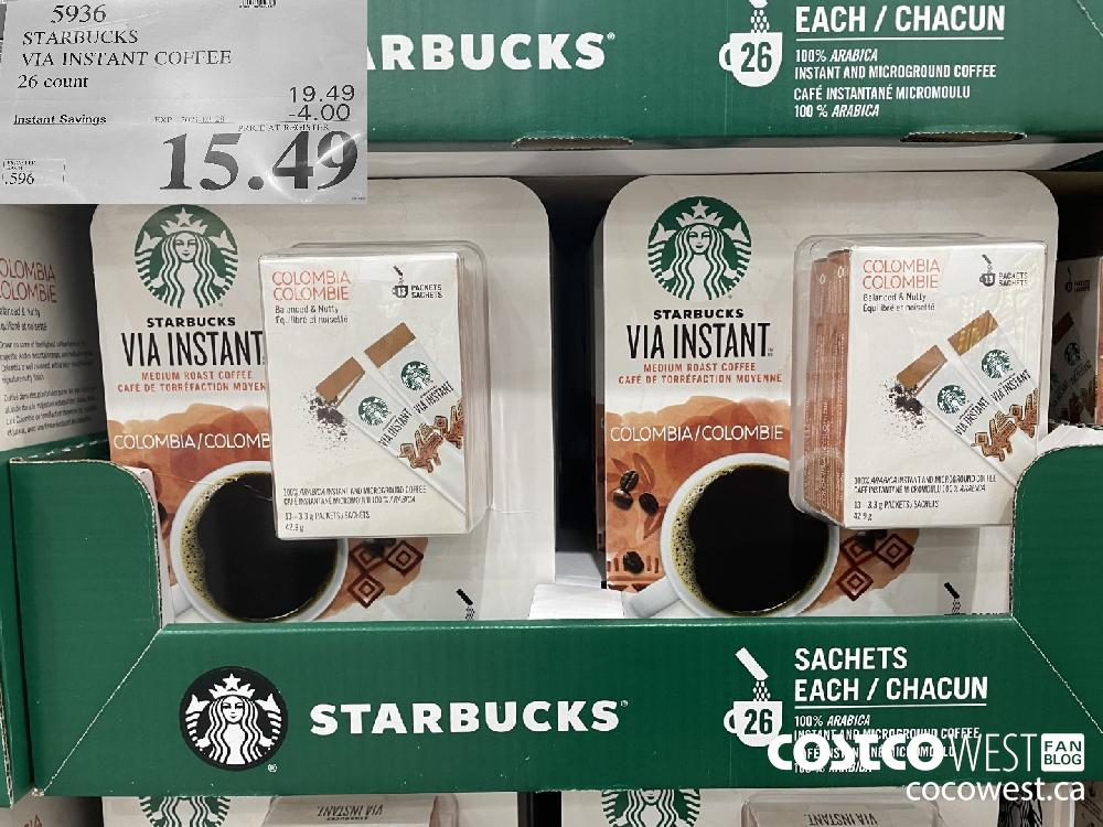 5936 STARBUCKS VIA INSTANT COFFEE 26 count EXPIRY DATE: 2021-03-28 $15.49