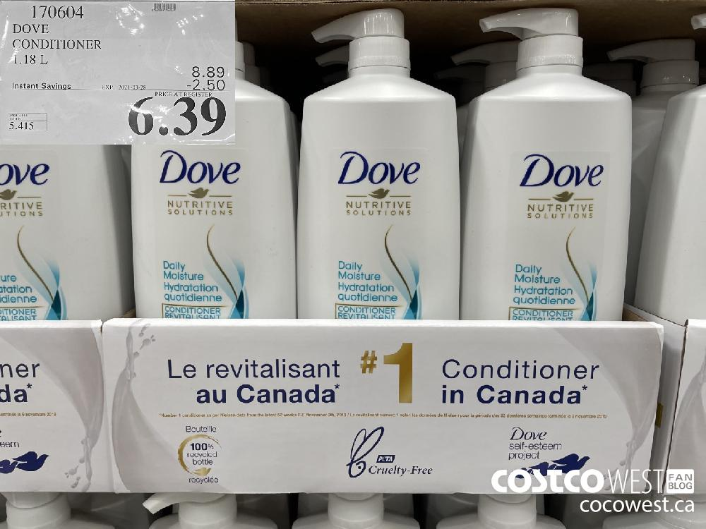 170604 DOVE CONDITIONER 1.18 L EXPIRY DATE: 2021-03-28 $6.39
