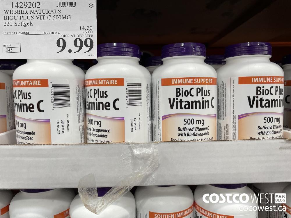 1429202 WEBBER NATURALS BIOC PLUS VIT C 500MG 220 Softgels EXPIRY DATE: 2021-04-11 $9.99