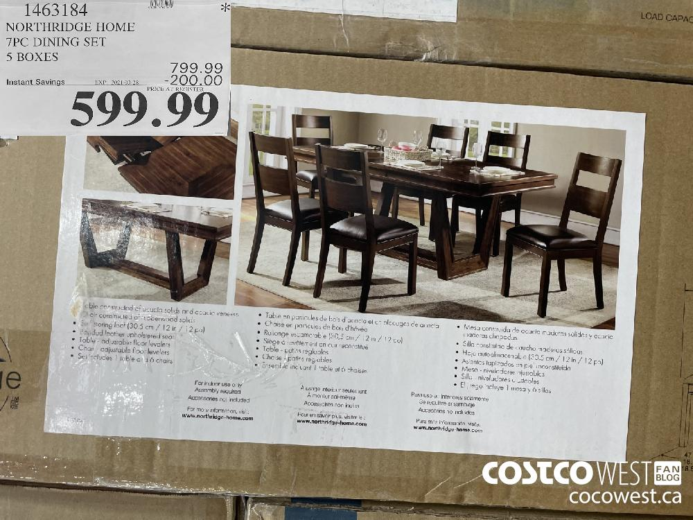 1463184 NORTHRIDGE HOME 7PC DINING SET 5 BOXES EXPIRY DATE: 2021-03-28 $599.99