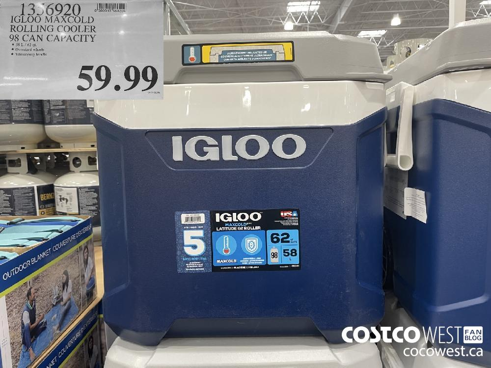 1356920 IGLOO MAXCOLD ROLLING COOLER 98 CAN CAPACITY $59.99