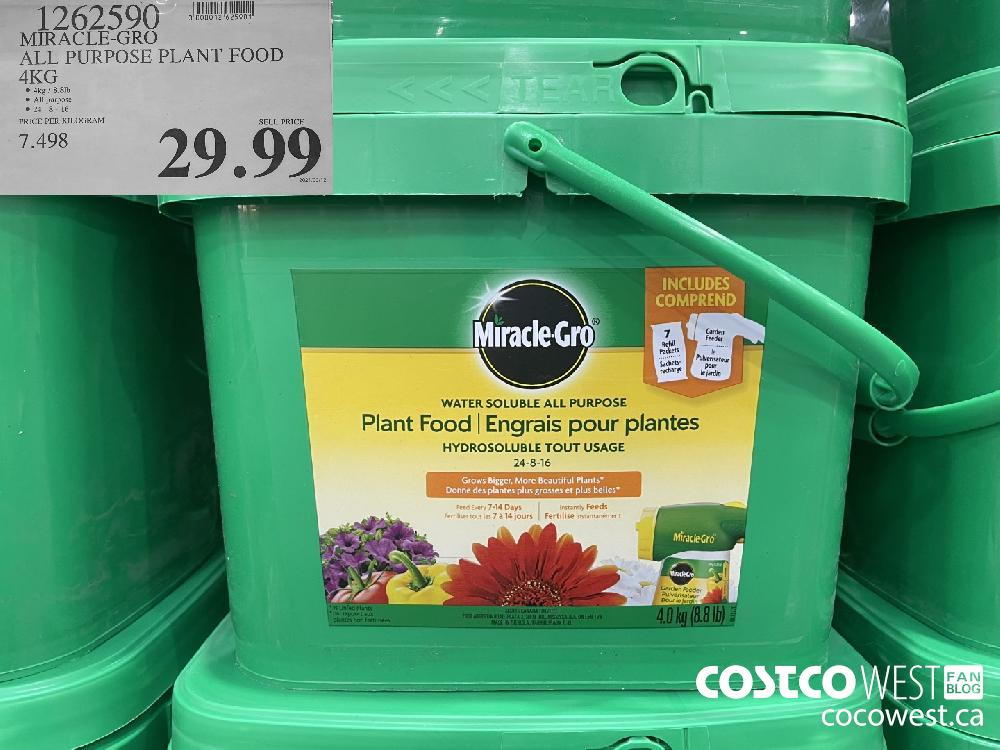 1262590 MIRACLE-GRO ALL PURPOSE PLANT FOOD 4KG $29.99