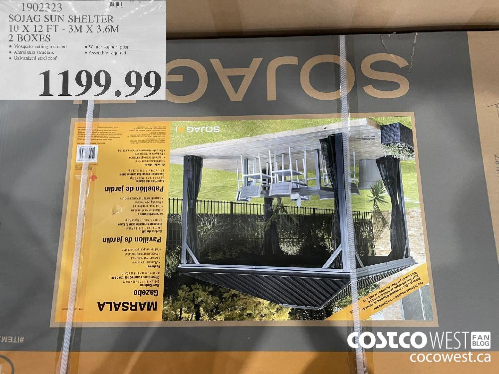 1902323 SOJAG SUN SHELTER 10 X 12 FT - 3M X 3.6M 2 BOXES $1199.99