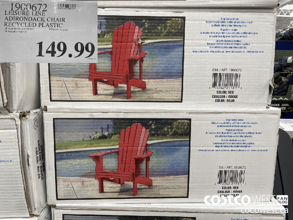 1900672 LEISURE LINE ADIRONDACK CHAIR RECYCLED PLASTIC $149.99