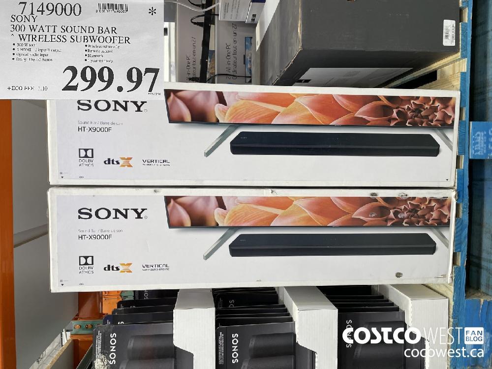 7149000 SONY 300 WATT SOUND BAR WIRELESS SUBWOOFER $299.97