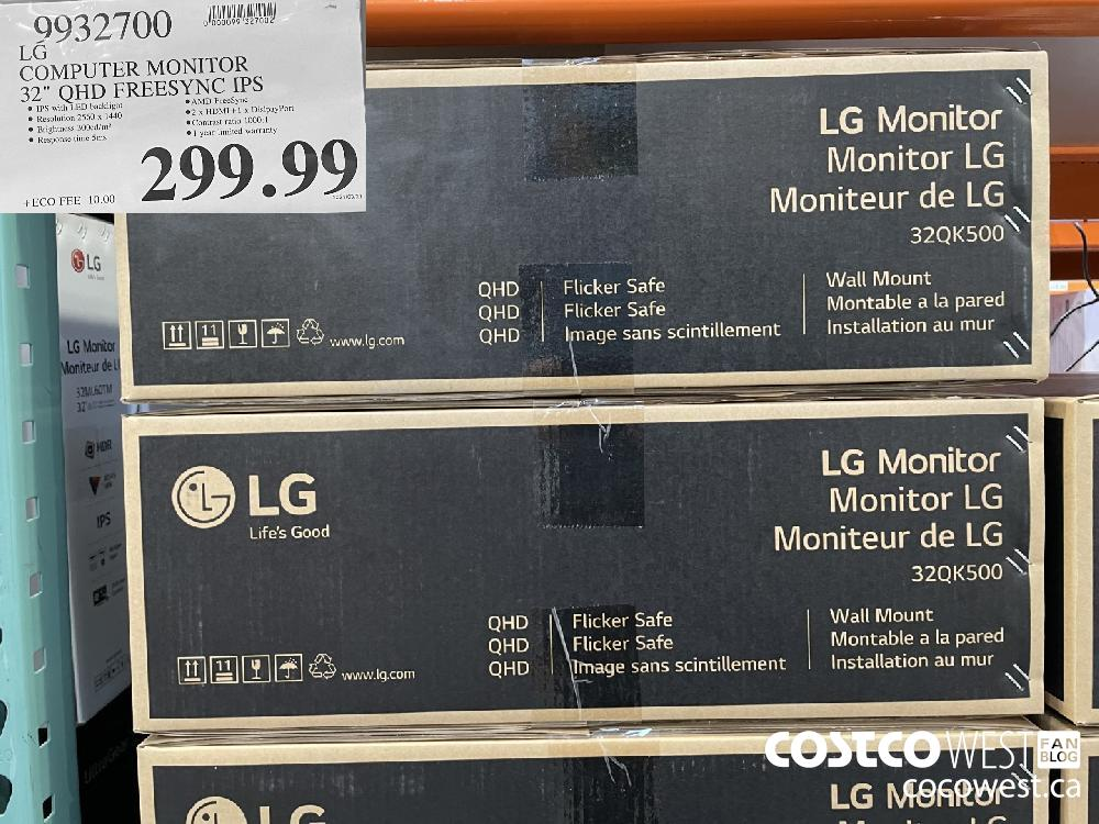 "9932700 LG COMPUTER MONITOR 32"" QHD FREESYNC IPS 299.99"