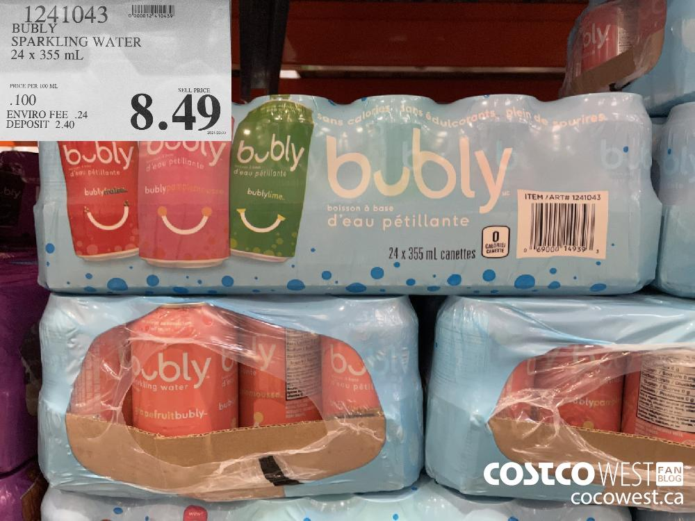 1241043 BUBLY SPARKLING WATER 24 x 355 mL $8.49