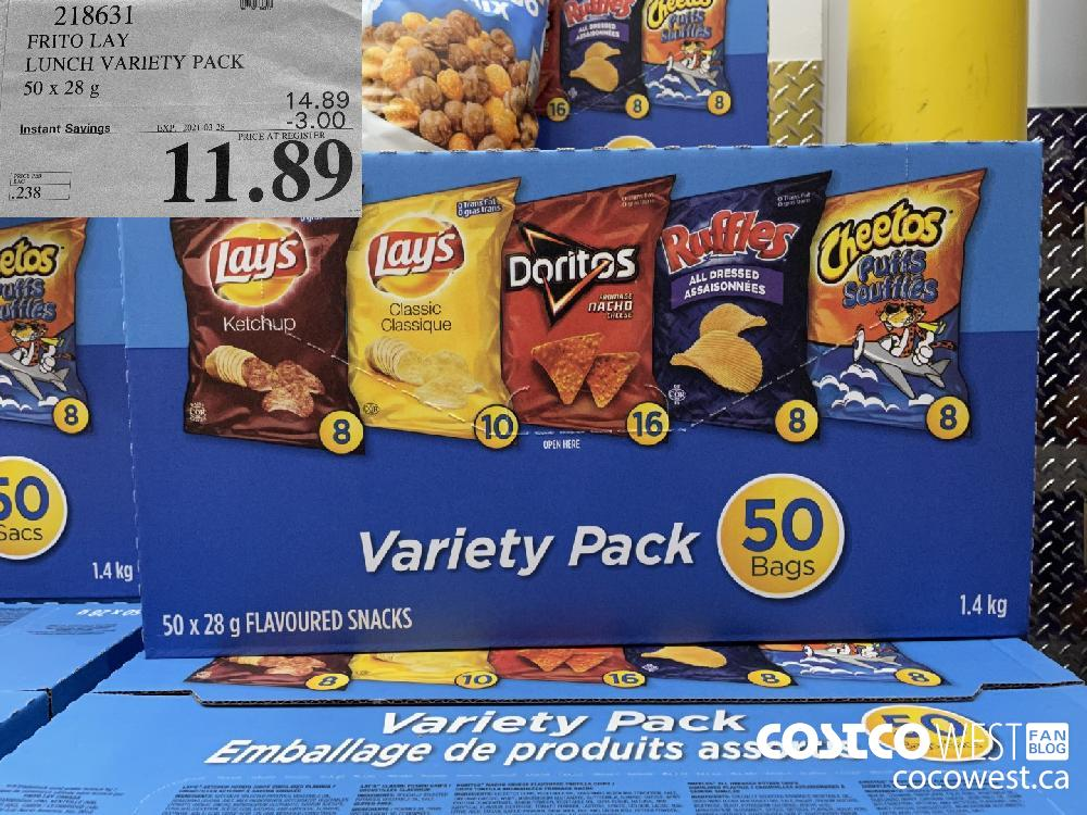 218631 FRITO LAY LUNCH VARIETY PACK 50 x 28 g EXPIRY DATE: 2021-03-28 $11.89