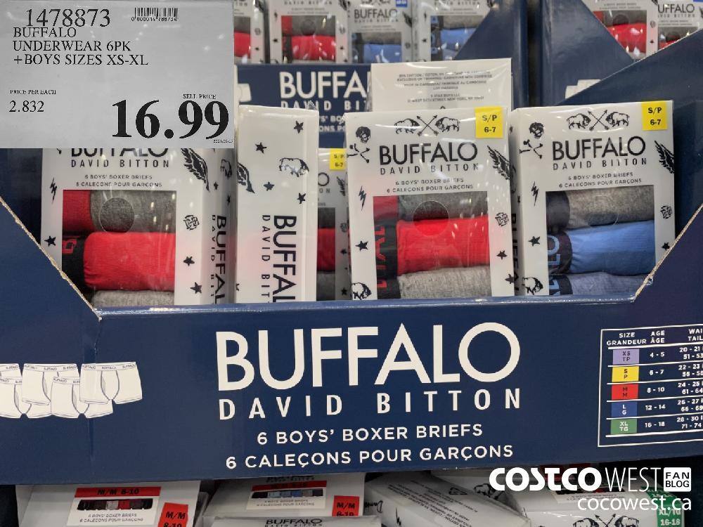 1478873 BUFFALO UNDERWEAR 6PK BOYS SIZES XS-XL $16.99