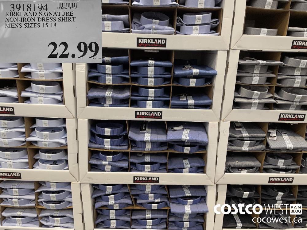 3918194 KIRKLAND SIGNATURE NON-IRON DRESS SHIRT MENS SIZES 15-18 $22.99