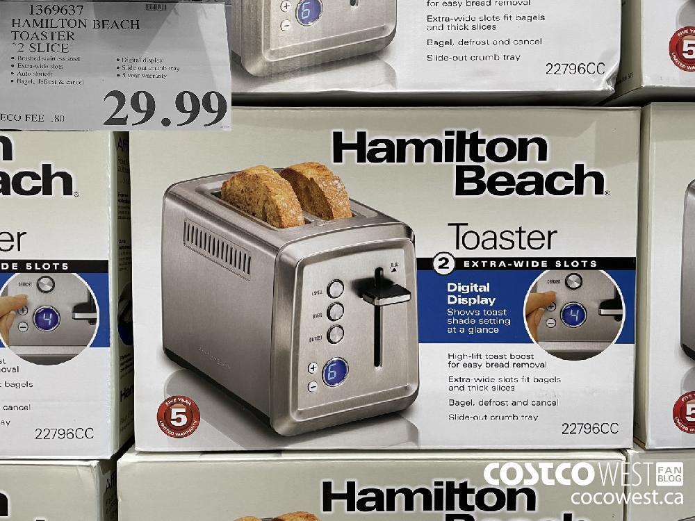 1369637 HAMILTON BEACH TOASTER 2 SLICE $29.99