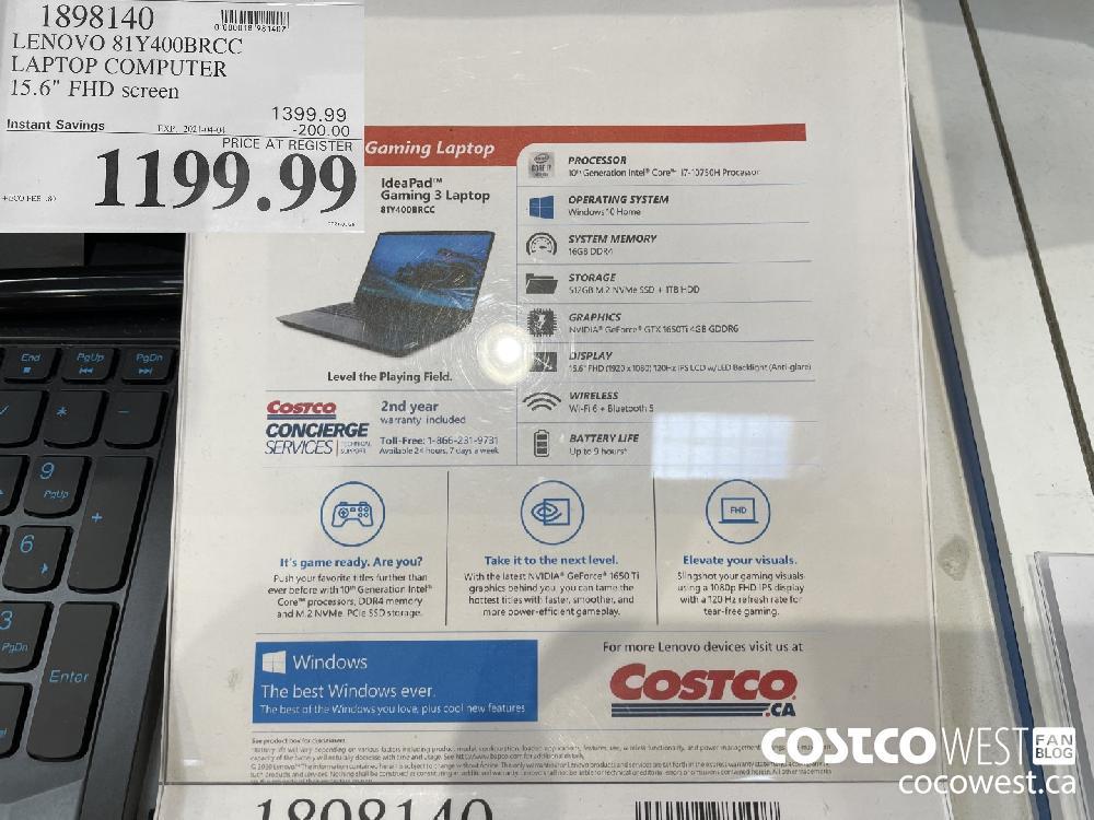 "1898140 LENOVO 81Y400BRCC LAPTOP COMPUTER 15.6"" FHD screen EXPIRY DATE: 2021-04-04 $1199.99"