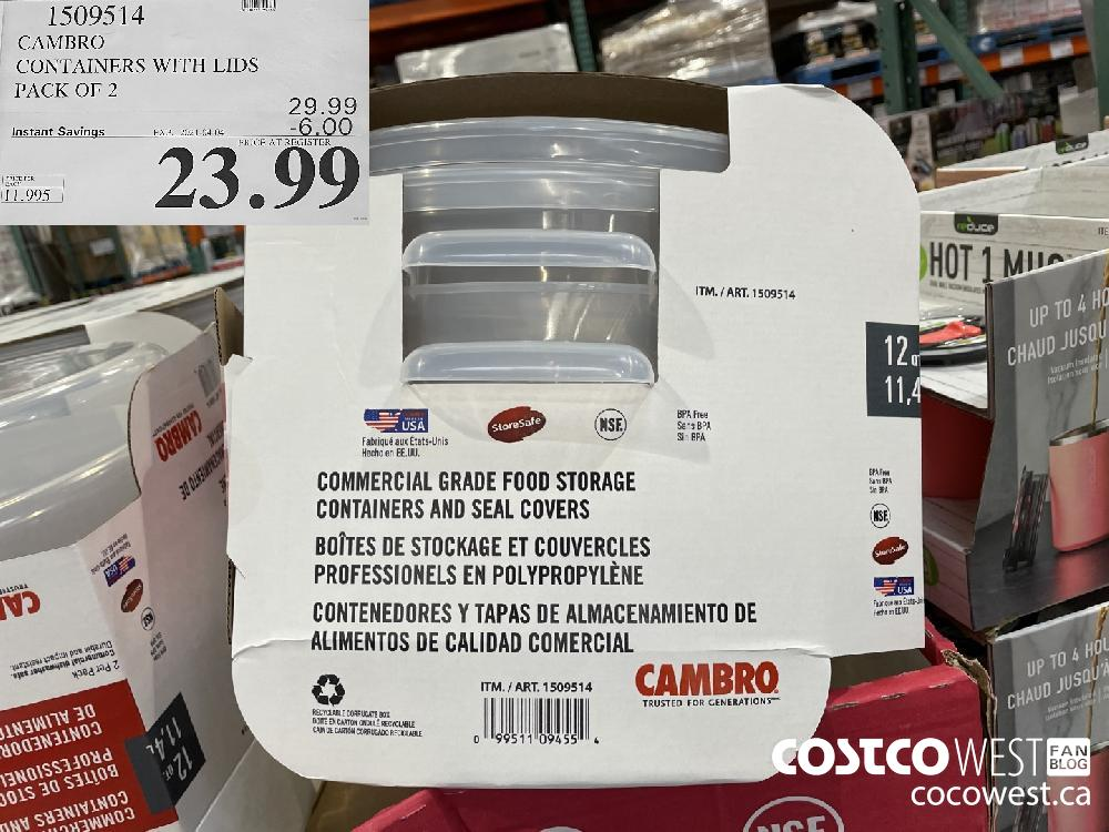 1509514 CAMBRO CONTAINERS WITH LIDS PACK OF 2 EXPIRY DATE: 2021-04-04 $23.99