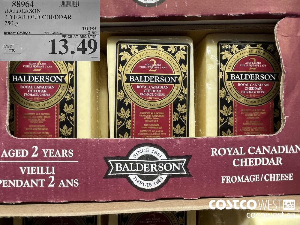 88964 BALDERSON 2 YEAR OLD CHEDDAR 750 g EXPIRY DATE: 2021-04-04 $13.49
