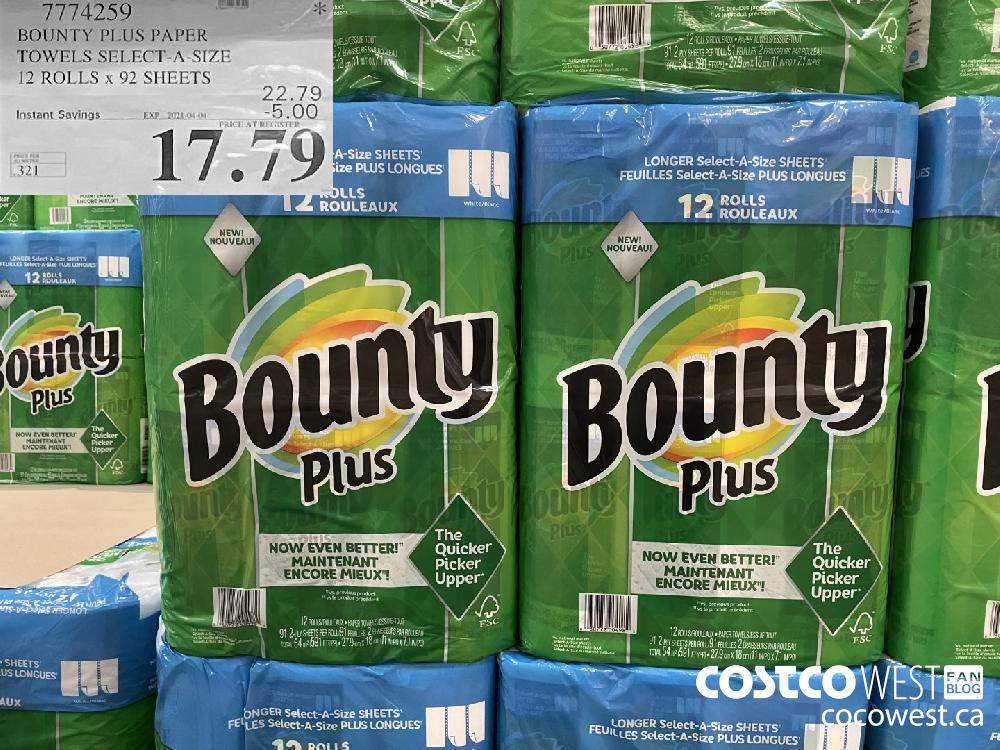 7774259 BOUNTY PLUS PAPER TOWELS SELECT-A-SIZE 12 ROLLS x 92 SHEETS EXPIRY DATE: 2021-04-04 $17.79
