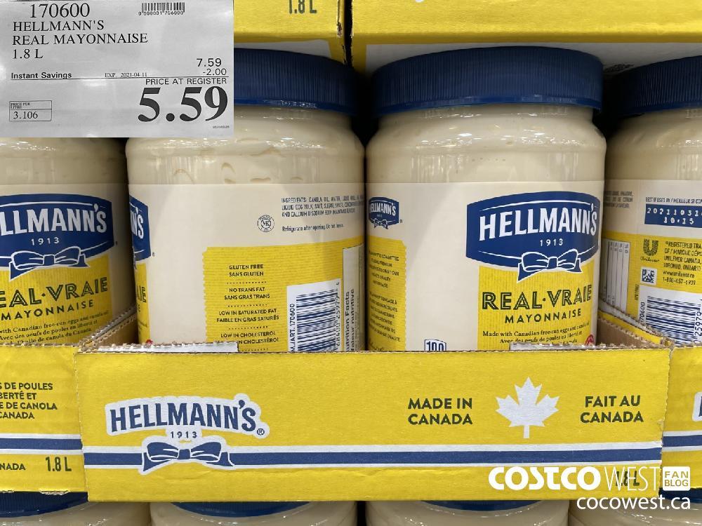 170600 HELLMANN'S REAL MAYONNAISE 1.8 L EXPIRY DATE: 2021-04-11 $5.59