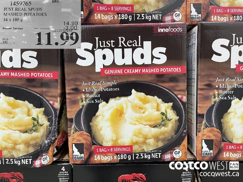 1459765 JUST REAL SPUDS MASHED POTATOES 14x 180 g EXPIRY DATE: 2021-04-04 $11.99