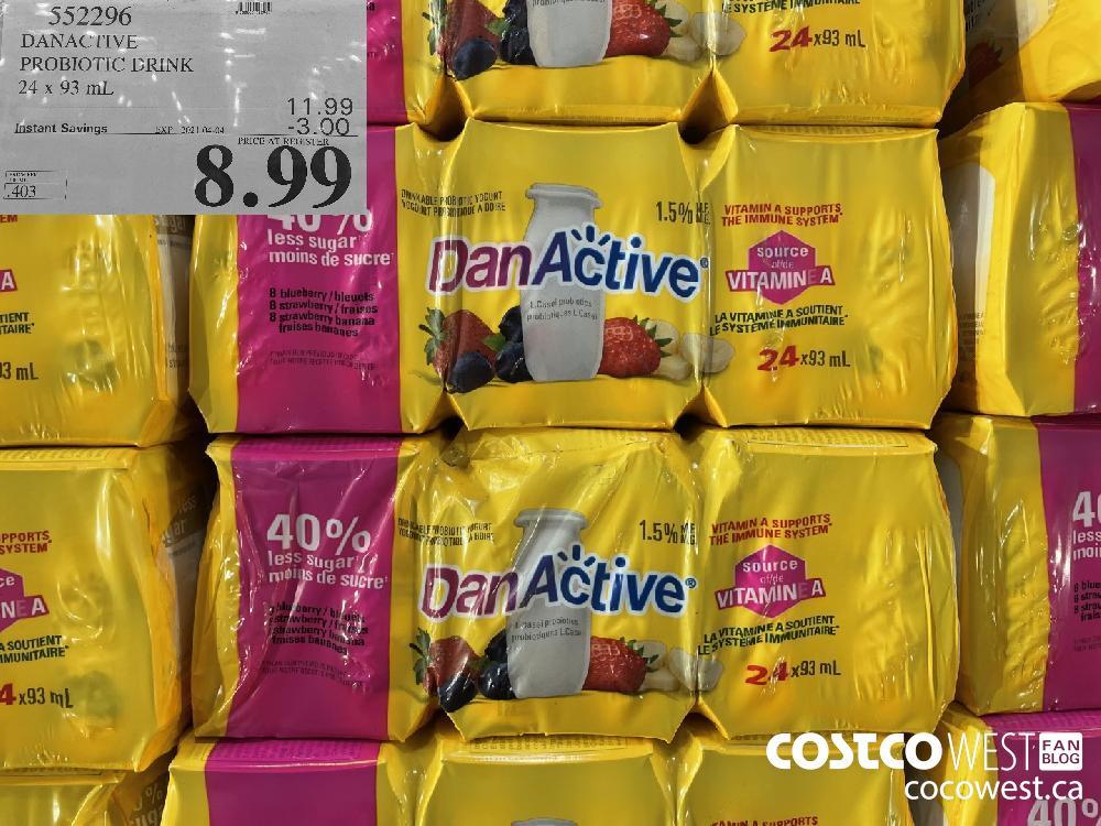 552296 DANACTIVE PROBIOTIC DRINK 24 x 93 mL EXPIRY DATE: 2021-04-04 $8.99