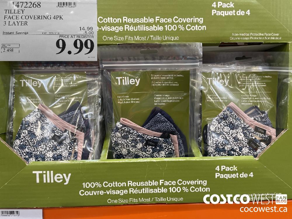 1472268 TILLEY FACE COVERING 4PK 3 LAYER EXPIRY DATE: 2021-04-04 $9.99