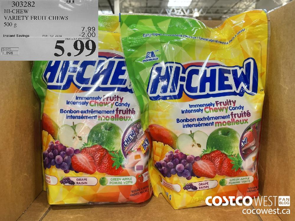 303282 HI-CHEW VARIETY FRUIT CHEWS 500 g EXPIRY DATE: 2021-04-04 $5.99