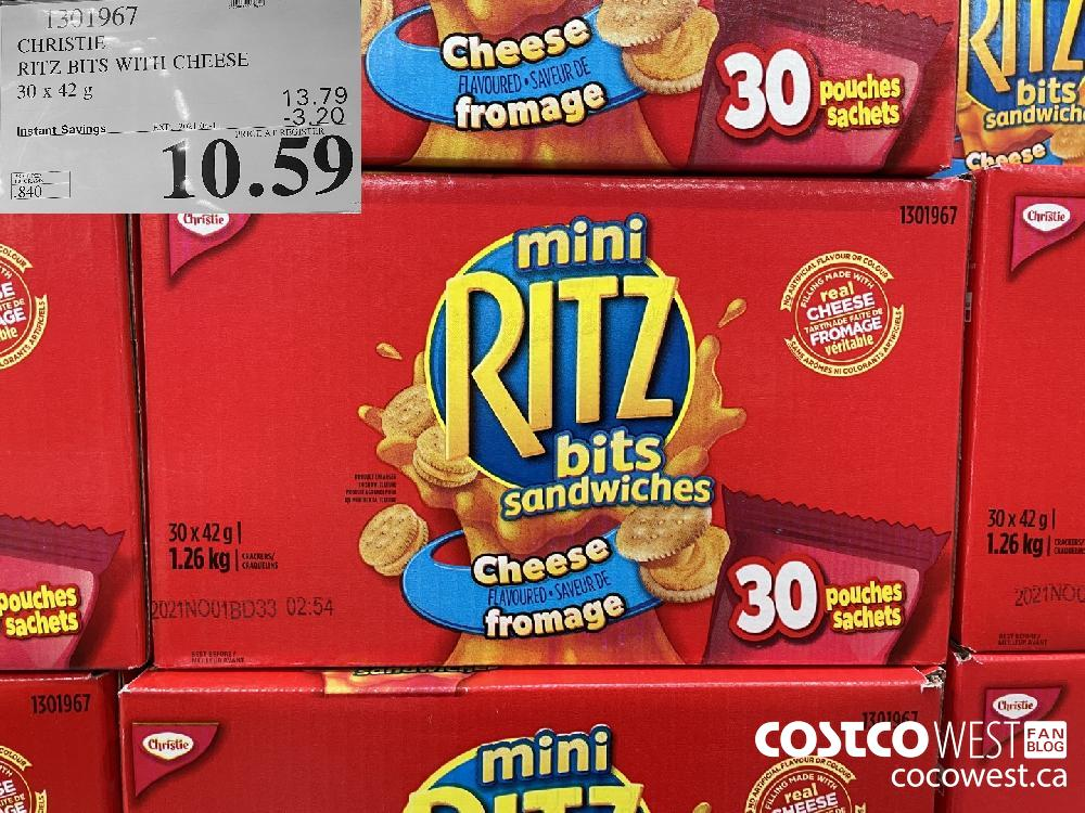 1301967 CHRISTIE RITZ BITS WITH CHEESE 30x 42g EXPIRY DATE: 2021-04-11 $10.59