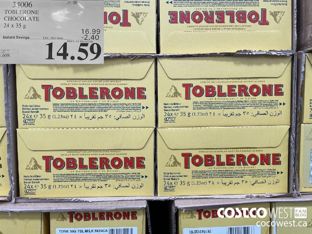 34006 TOBLERONE CHOCOLATE 24 x 35g EXPIRY DATE: 2021-04-04 $14.59