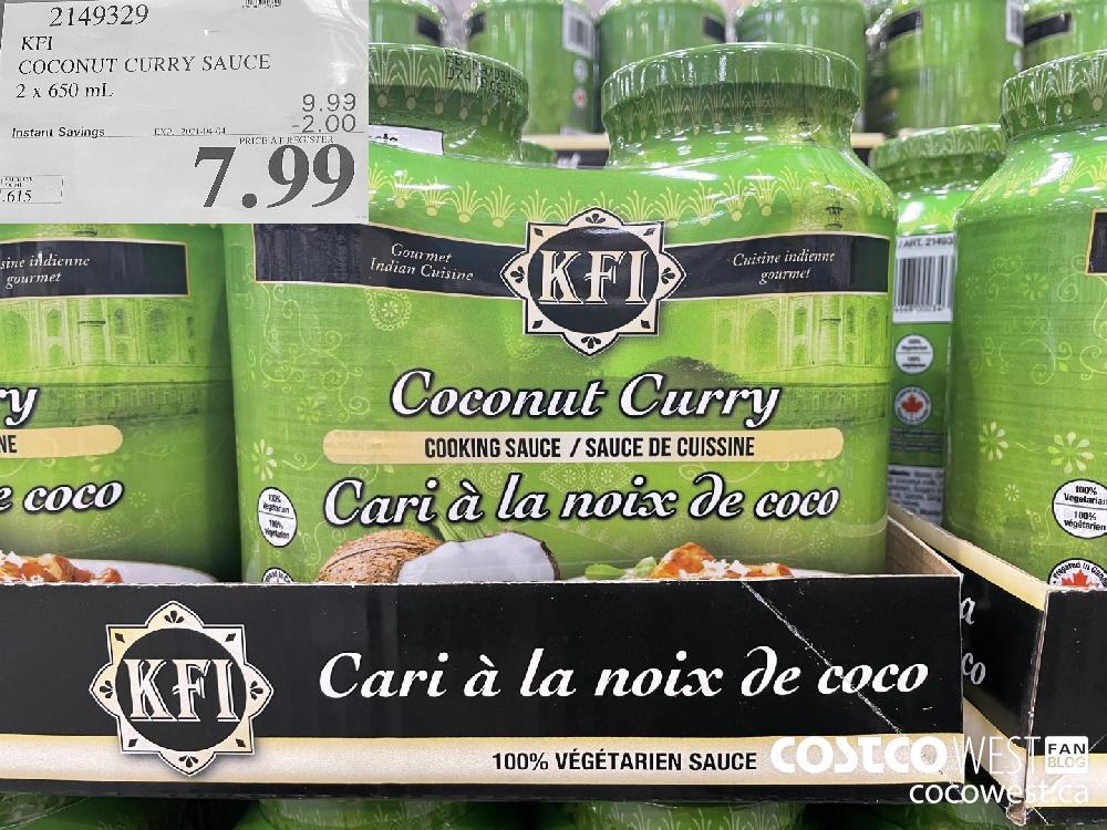 2149329 KFI COCONUT CURRY SAUCE 2 x 650 mL EXPIRY DATE: 2021-04-04 $7.99