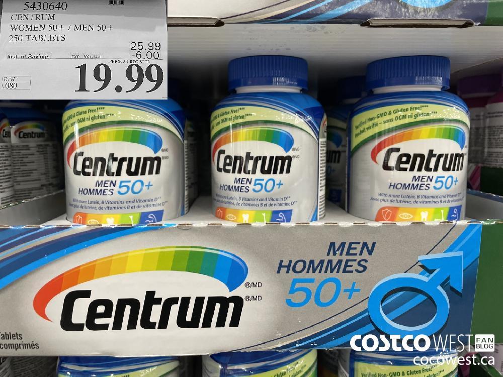 5430640 CENTRUM WOMEN 50 / MEN 50 250 TABLETS EXPIRY DATE: 2021-04-11 $19.99