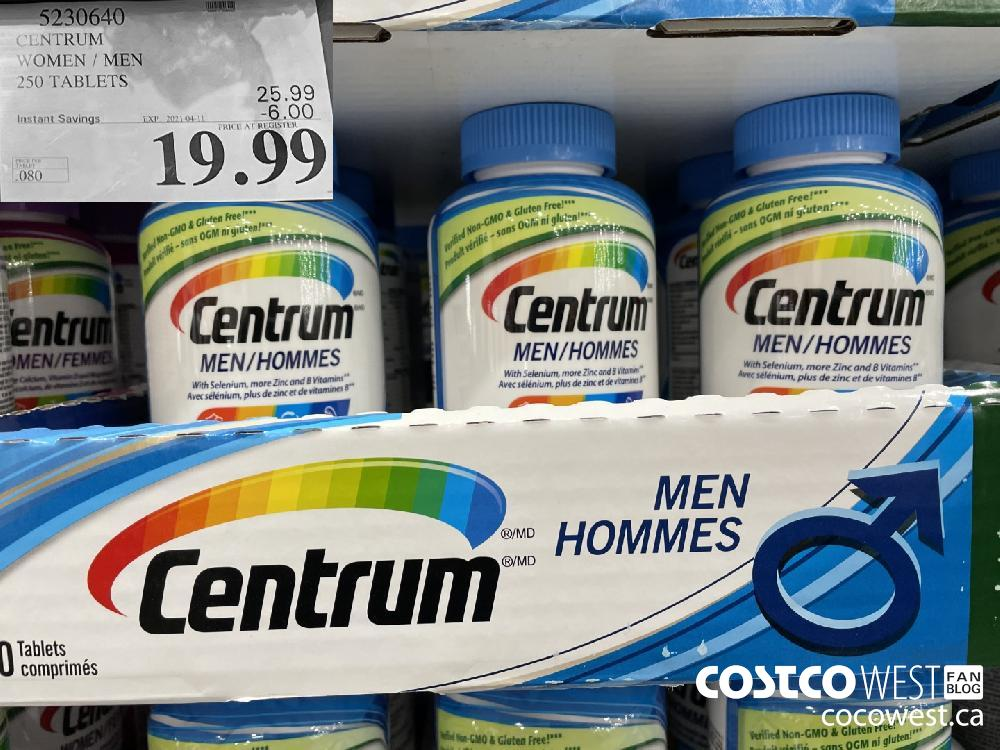 5230640 CENTRUM WOMEN / MEN 250 TABLETS EXPIRY DATE: 2021-04-11 $19.99