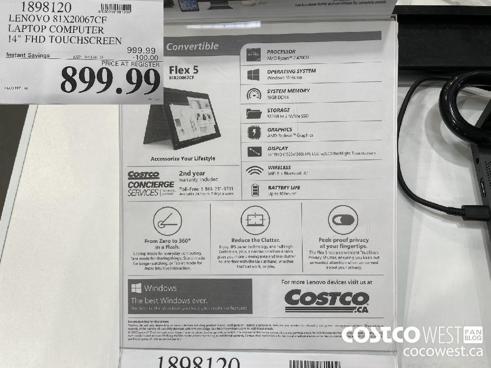"1898120 LENOVO 81X20067CEF LAPTOP COMPUTER 14"" FHD TOUCHSCREEN EXPIRY DATE: 2021-04-15 $899.99"