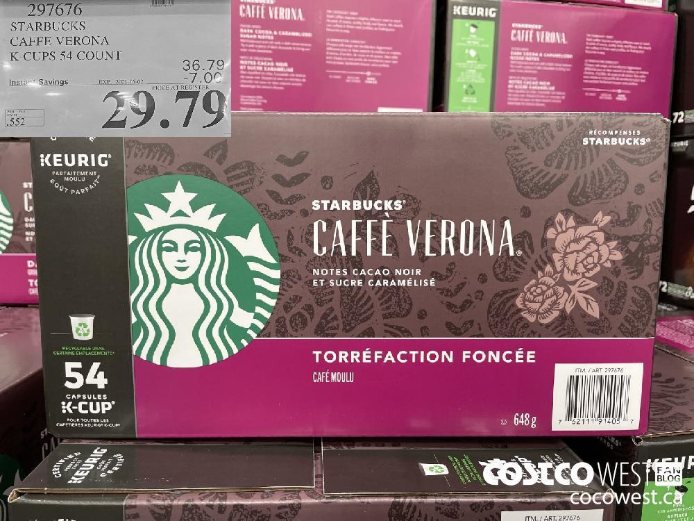 297676 STARBUCKS CAFFE VERONA K-CUPS 54 COUNT EXPIRY DATE: 2021-05-02 $29.79