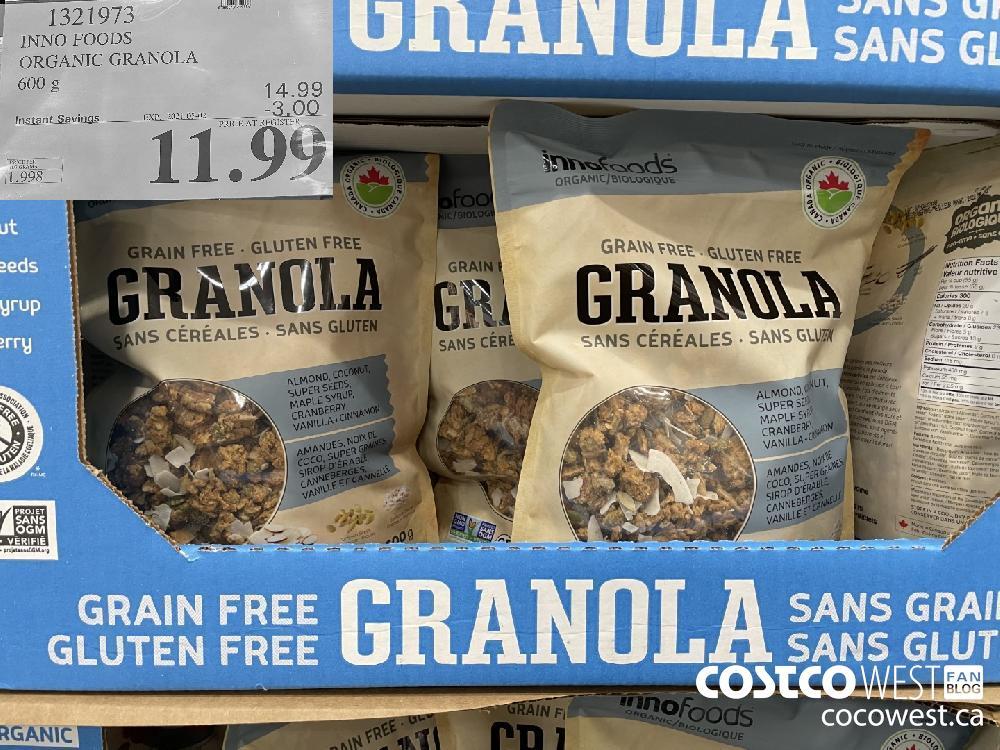 1321973 INNO FOODS ORGANIC GRANOLA 600 g EXPIRY DATE: 2021-05-02 $11.99