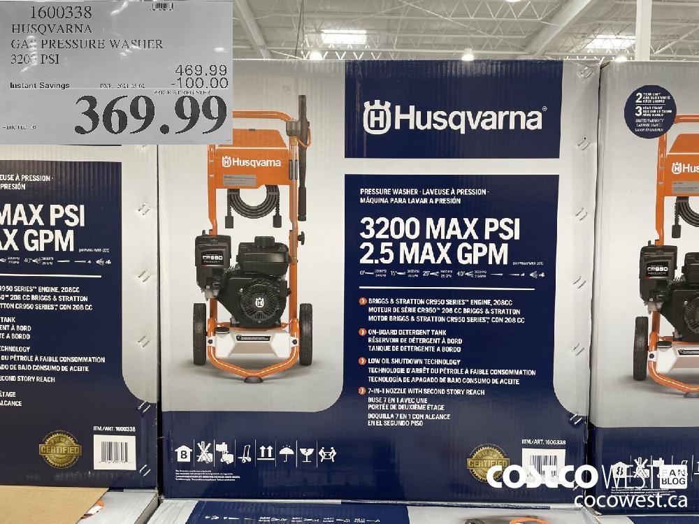 1600338 HUSQVARNA GAS PRESSURE WASHER 3200 PSI EXPIRY DATE: 2021-05-02 $369.99