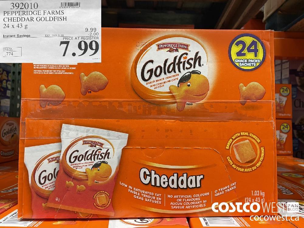 392010 PEPPERIDGE FARMS CHEDDAR GOLDFISH 24 x 43 g EXPIRY DATE: 2021-04-11 $7.99