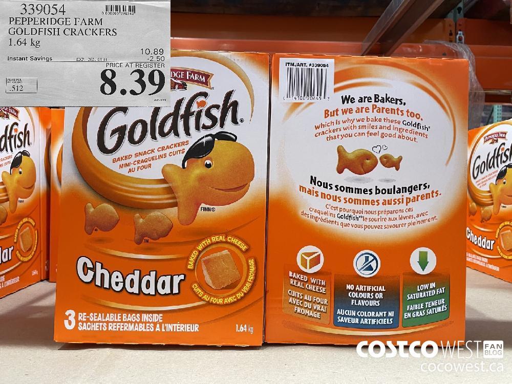 339054 PEPPERIDGE FARM GOLDFISH CRACKERS 1.64 kg EXPIRY DATE: 2021-04-11 $8.39