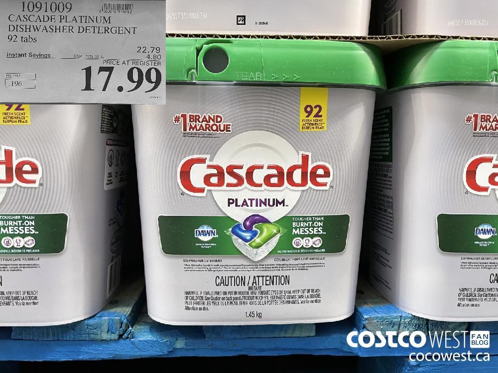 1091009 CASCADE PLATINUM DISHWASHER DETERGENT 92 tabs EXPIRY DATE: 2021-05-02 $17.99