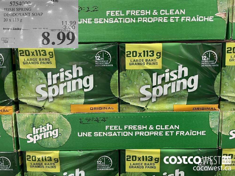 5754000 IRISH SPRING DEODORANT SOAP 20 x 113g EXPIRY DATE: 2021-05-02 $8.99