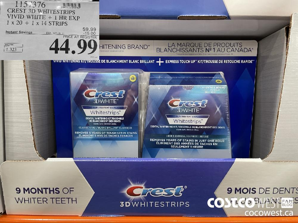 1157376 CREST 3D WHITESTRIPS VIVID WHITE 1 HR EXPIRY DATE: 1 x 20 1 x 14 STRIPS EXPIRY DATE: 2021-04-11 $44.99