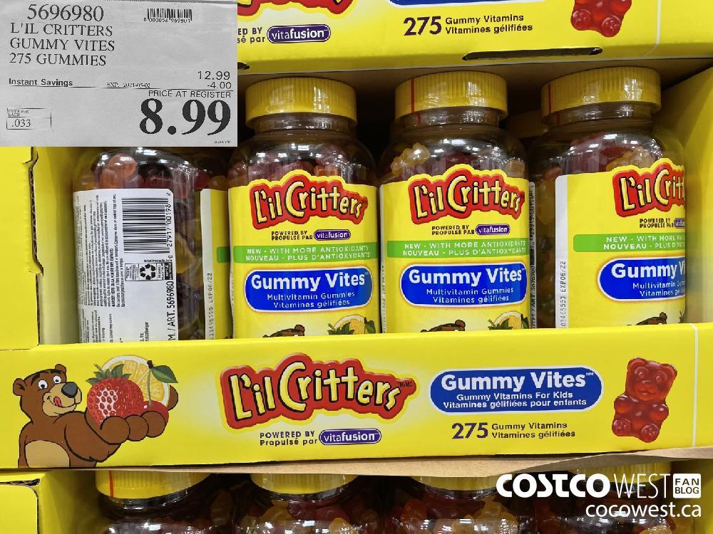 5696980 L'IL CRITTERS GUMMY VITES 275 GUMMIES EXPIRY DATE: 2021-05-02 $8.99