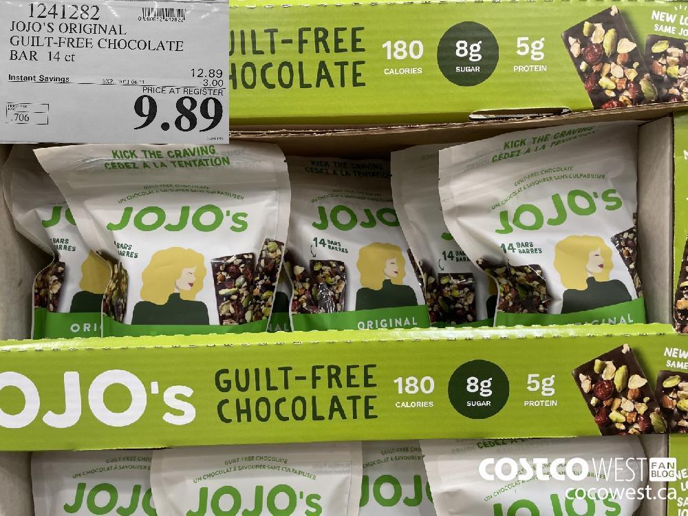 1241282 JOJO'S ORIGINAL GUILT-FREE CHOCOLATE BAR 14 ct EXPIRY DATE: 2021-04-11 $9.89